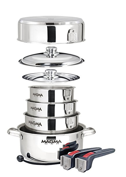 Magma Products, 10 Piece Gourmet Nesting Stainless Steel Cookware Set, Stainless Steel