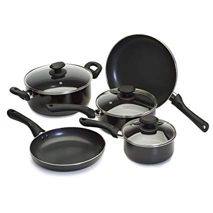 Nonstick Cookware Set - 8 Piece - Includes Frying Pans, Saucepans and Dutch Oven with Glass Lids, Black