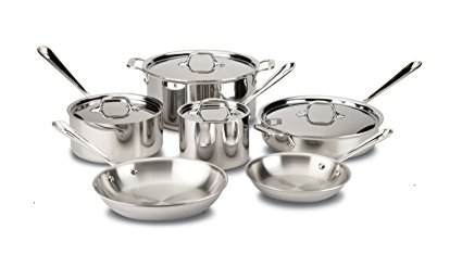 All-Clad 401488R Stainless Steel Tri-Ply Bonded Dishwasher Safe Cookware Set, 10-Piece, Silver