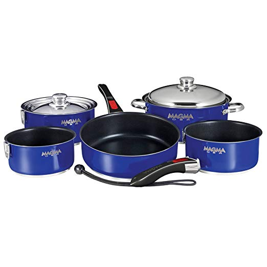 Magma Nesting 10 Piece Cobalt Blue / Slate Black Cookware (Part #A10-366Cb-2 By Magma)