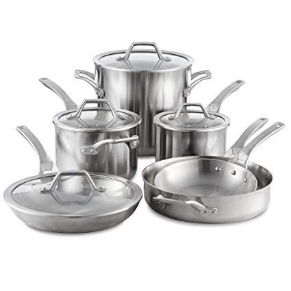 Calphalon Signature Stainless Steel Cookware Set, 10-piece, Silver (1950766)