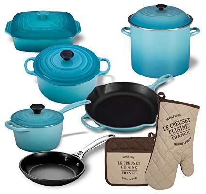 Le Creuset 12 Piece Basic Kitchen Essentials Cookware Bundle (Caribbean)
