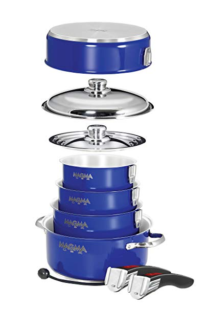Magma Products, A10-366-CB-IND Gourmet Nesting 10-Piece Induction Cobalt Blue Stainless Steel Cookware Set