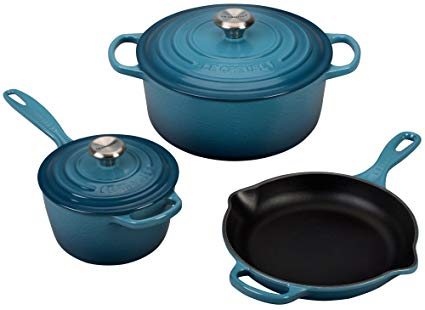 Le Creuset 5 Piece Signature Enameled Cast Iron Cookware Set, Marine