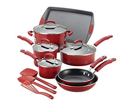 Rachael Ray Hard Porcelain Enamel Nonstick Cookware Set, 14-Piece, Red Gradient