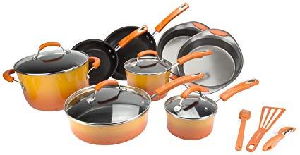 Rachael Ray 15-Piece Kitchen NonStick Hard Enamel Cookware Set Pots Pans -Orange