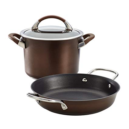 Circulon Symmetry 3 Piece Chocolate Hard Anodized Aluminum Cookware Set