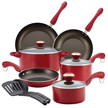 Paula Deen Signature Dishwasher Safe Nonstick Cookware Set, 11-Piece, Red
